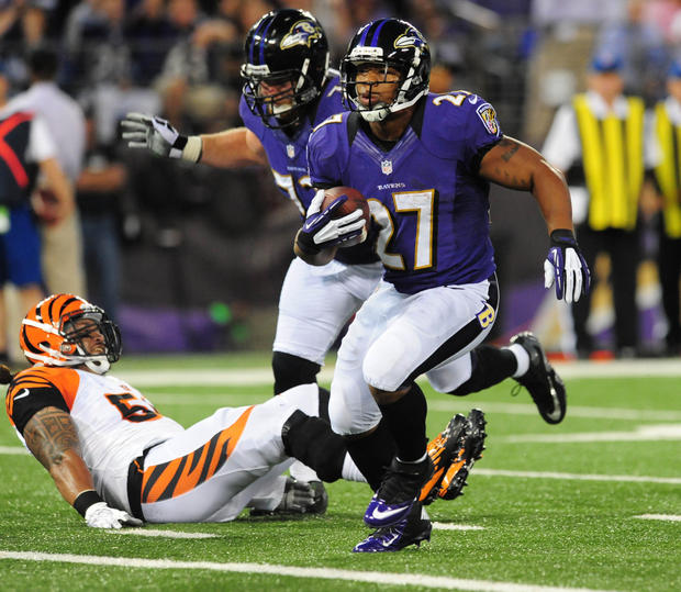 Ravens running back Ray Rice runs into the end zone for a touchdown in the first quarter against the Cincinnati Bengals at M&T Bank Stadium.