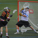 Maryland attackman Billy Gribbin, Johns Hopkins goalkeeper Pierce Bassett