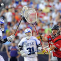 Duke attackman Christian Walsh (left) was an All-American at Boys' Latin
