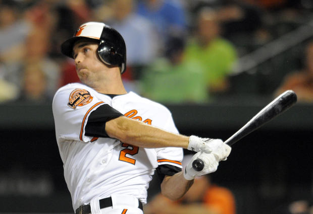 J.J. Hardy singles in the sixth inning to break up Aaron Cook's no-hitter.