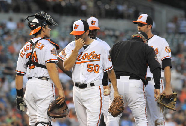 Orioles starting pitcher Miguel Gonzalez, center, is taken out of the game against the Tampa Bay Rays by manager Buck Showalter, second from right, during the top of the third inning at Camden Yards.