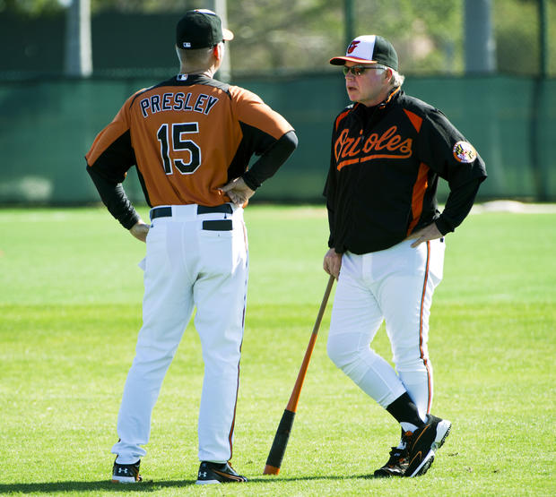 Orioles manager Buck Showalter talks with hitting coach Jim Presley.