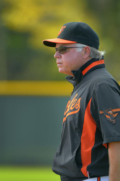 Orioles manager Buck Showalter observes the team's fielding drills.