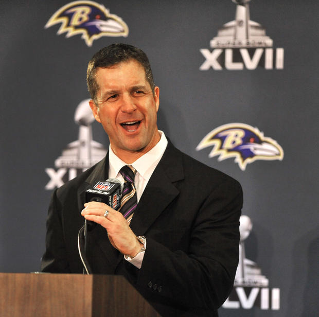 Ravens coach John Harbaugh talks to the media after the team arrived in New Orleans for Super Bowl XLVII.
