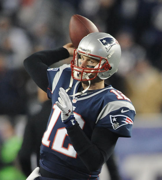 Patriots QB Tom Brady warms up at Gillette Stadium.