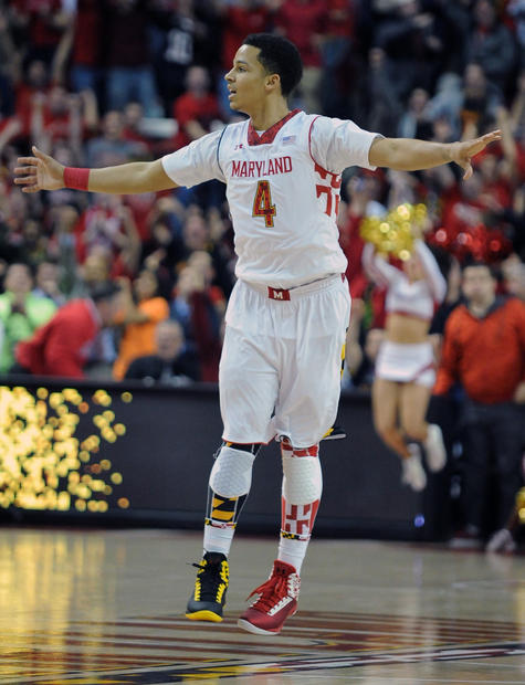 Seth Allen celebrates Maryland's 51-50 win over N.C. State.