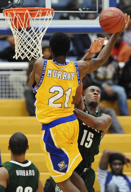Loyola's Jordan Latham is called for a foul on Coppin's Mitchell Murray.