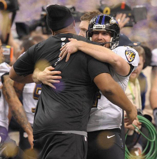 Sam Koch celebrates the Ravens' Super Bowl victory.