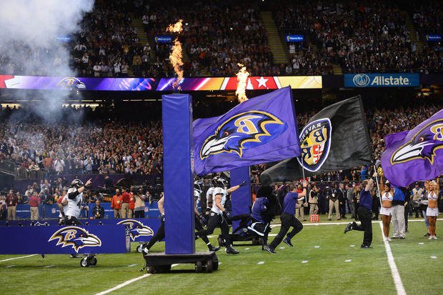 The Ravens take the field against the 49ers.