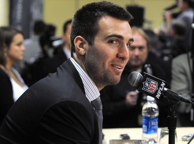 Ravens quarterback Joe Flacco answers questions during a news conference after the team arrived in New Orleans for Super Bowl XLVII.