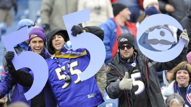 Ravens fans support their team in Foxborough.