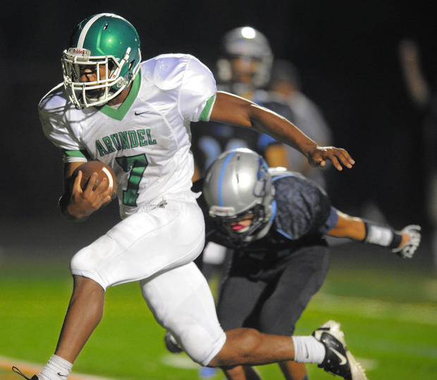 Arundel running back Matt Davis sprints past South River defensive back Michael Ward for a third-quarter touchdown.