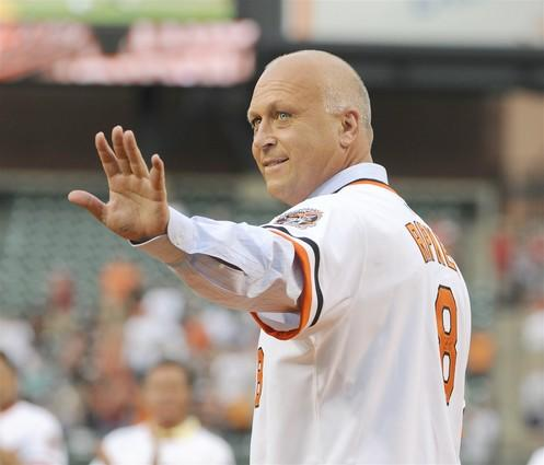 Cal Ripken Jr. waves to the crowd during a pregame ceremony at Camden Yards celebrating the Orioles' 1983 World Championship team. The ceremony commemorated the 25th anniversary of the team's championship.