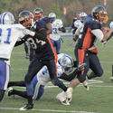 Morgan State quarterback Mario Melton tackled