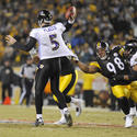 Joe Flacco pressured by Steelers 'D'