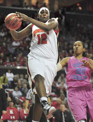 Maryland center Lynetta Kizer pulls down a rebound in the second half.