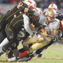 Terps defenders tackle Christian Ponder