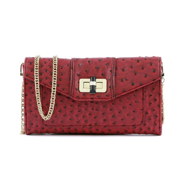 The London ostrich clutch in red.