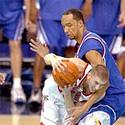 Maryland's Steve Blake and Kansas' Drew Gooden