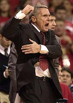 Maryland head coach Gary Williams yells for a foul call against Miami of Ohio during the second half of Maryland's 64-49 win.