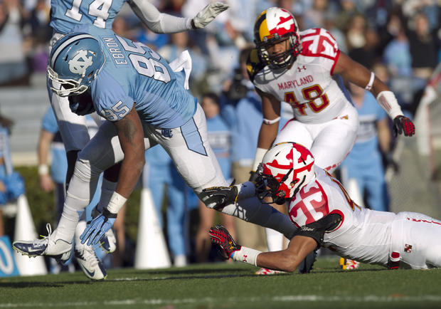 North Carolina's Eric Ebron, left, scores a touchdown in the first quarter against the Terps.