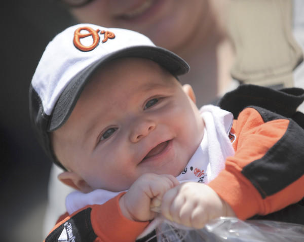 Six-month-old Parker Benjamin prepares to to attend his first Oriole game prior to the Orioles home opener.