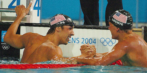 Michael Phelps, left, edged Ryan Lochte for gold in the 200-meter IM medley at the 2004 Olympics in Athens.