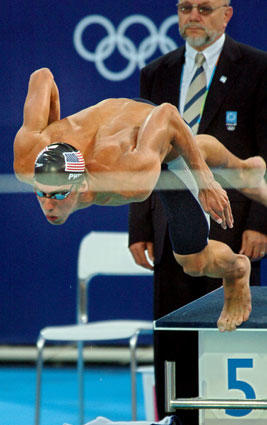 Michael Phelps claimed gold in the 200-meter butterfly at the 2004 Olympic Games in Athens.