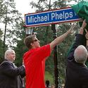Michael Phelps helps unveil street sign