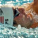 Michael Phelps practices the backstroke