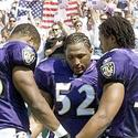Ravens linebackers after national anthem