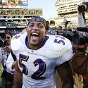 Ray Lewis celebrates after the game
