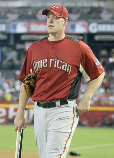 Orioles catcher Matt Wieters, a member of the American League All-Star team, looks on during Gatorade All-Star Workout Day at Chase Field in Phoenix.