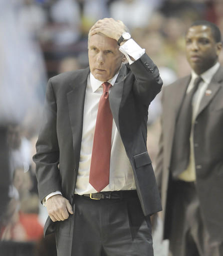Maryland's Gary Williams coaches the Terps in the first half against Houston.