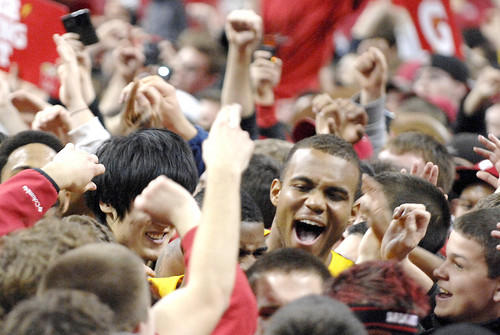 Terps center Braxton Dupree (Calvert Hall) celebrates with jubilant fans after the overtime buzzer sounded to signal Maryland's win. The Terps also defeated the Tar Heels two seasons ago at Comcast Center.