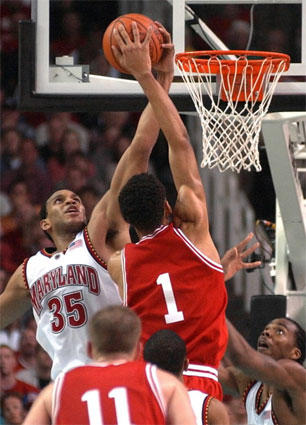 Lonny Baxter rejects Indiana forward Jared Jeffries' dunk attempt during the Terps' matchup with the Hoosiers in the championship game of the NCAA tournament. Baxter was an honorable mention All-American as a senior. He finished his Maryland career sixth all-time in scoring and second in rebounding.