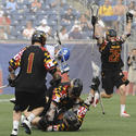 Maryland's Mike Chanenchuk (1), John Haus (26)
