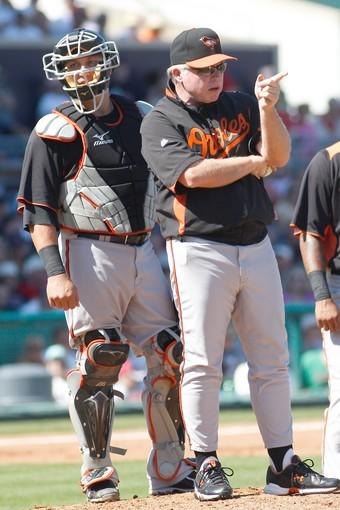 Orioles manager Buck Showalter calls for a new pitcher from the bullpen during a split-squad game against the Red Sox at City of Palms Park in Fort Myers, Fla.