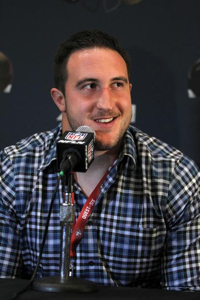 49ers offensive tackle Joe Staley speaks during a news conference at the Marriott New Orleans.