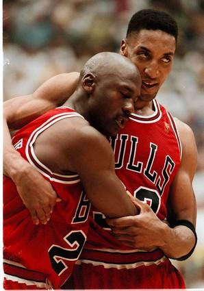 The lasting image from the 1997 NBA Finals is Jordan, exhausted from dropping 38 points with the flu, slumping on Scottie Pippen at the end of Game 5.