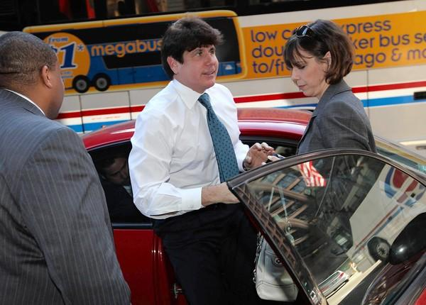 Former Gov. Rod Blagojevich and his wife, Patti, arrive at the Dirksen U.S. Courthouse after U.S. District Judge James Zagel summoned the lawyers and the defendants to court for the reading of a question from the jury.
