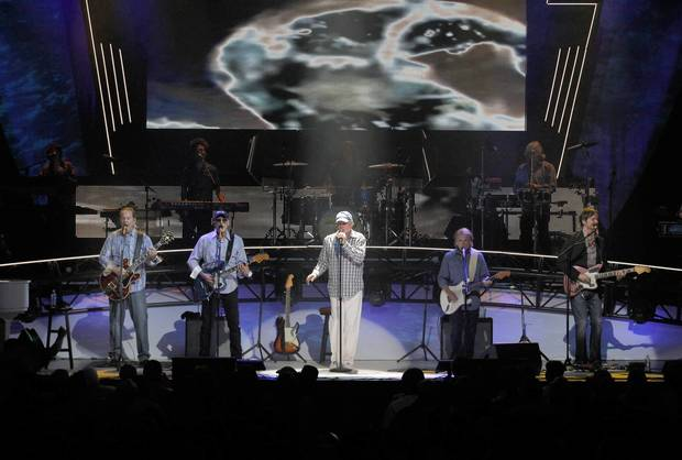 The Beach Boys perform at the Chicago Theater on Monday night.