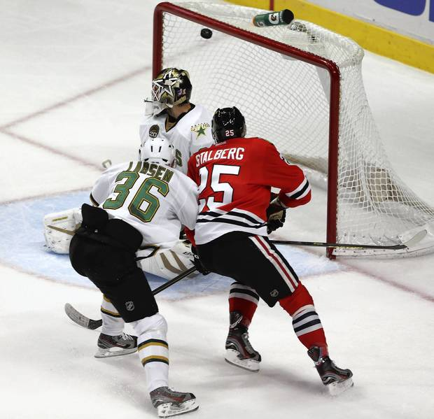 Blackhawks winger Viktor Stalberg scores past Stars goalie Richard Bachman.
