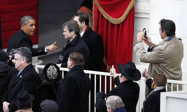 President Barack Obama leaves the stage after his inauguration at the U.S Capitol.