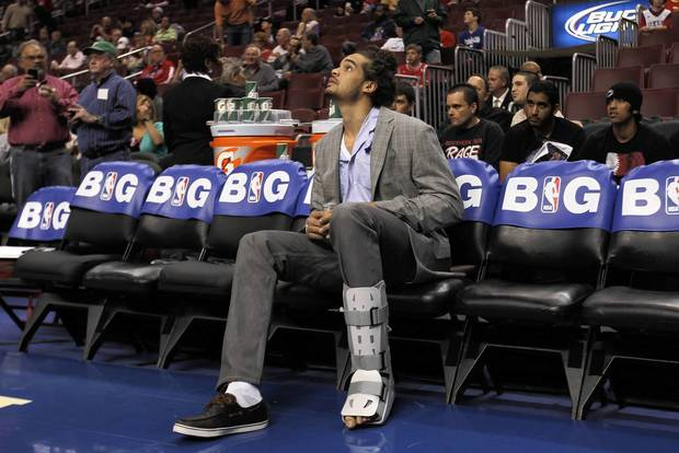 An injured Joakim Noah before Bulls played the 76ers in Game 4.