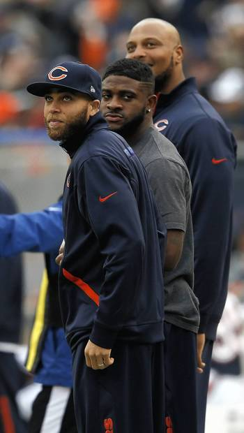 Johnny Knox on the sidelines in the second quarter against the Seahawks at Soldier Field.