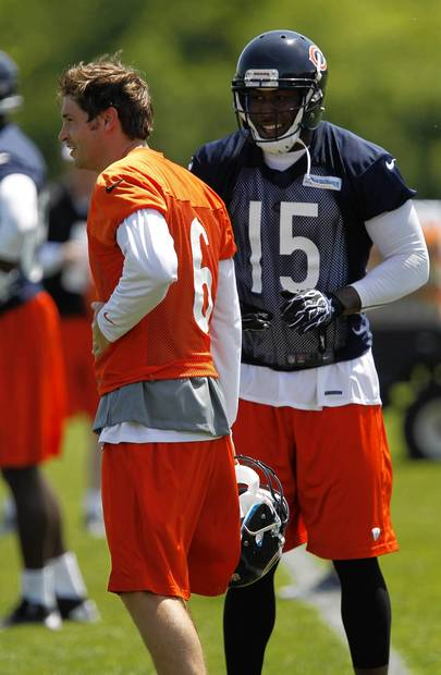 Jay Cutler chats with Brandon Marshall at Bears OTAs at Halas Hall.