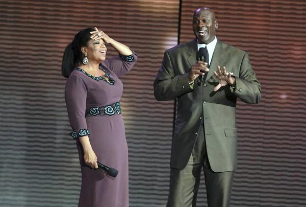 "Oprah Winfrey is surprised by Michael Jordan while taping the second of two ""Surprise Oprah! A Farewell Spectacular"" episodes at the United Center."