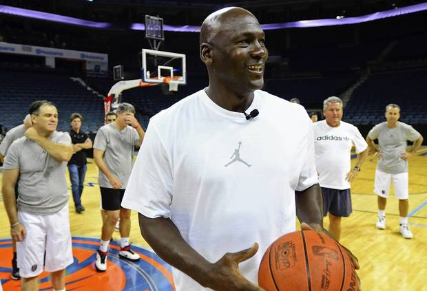 Bobcats owner Michael Jordan prepares to address campers during the Bobcats Fantasy Camp.