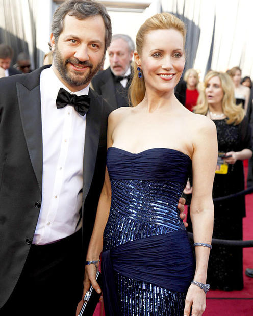 """Bridesmaids"" producer Judd Apatow and actress-wife Leslie Mann."